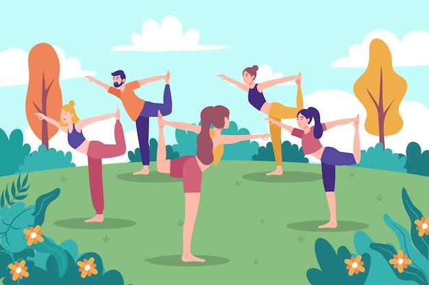 Ilustrowane osoby uprawiające jogę na świeżym powietrzu