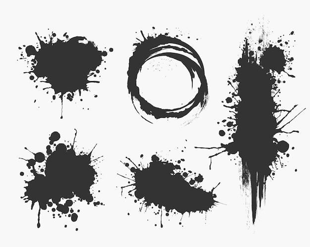 Ilustrowane plamy atramentu ustawiają kolekcję w czerni i bieli.