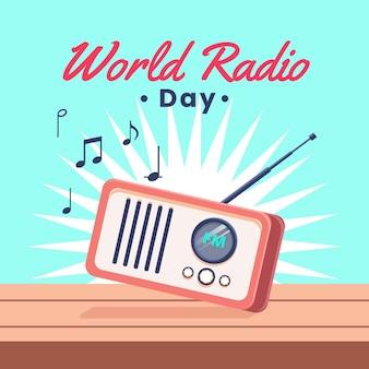 Ilustrowane płaskie radio retro