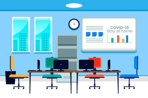 Ilustrowane puste biuro w czasie pandemii