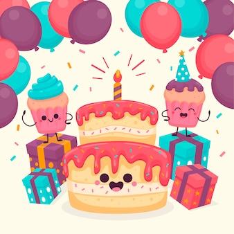 Ilustrowane słodkie postacie urodzinowe