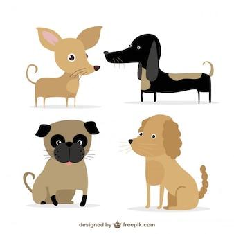 Ilustrowane słodkie ras psów