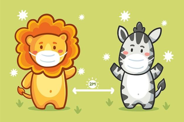 Ilustrowane słodkie zwierzaki ćwiczące dystans społeczny