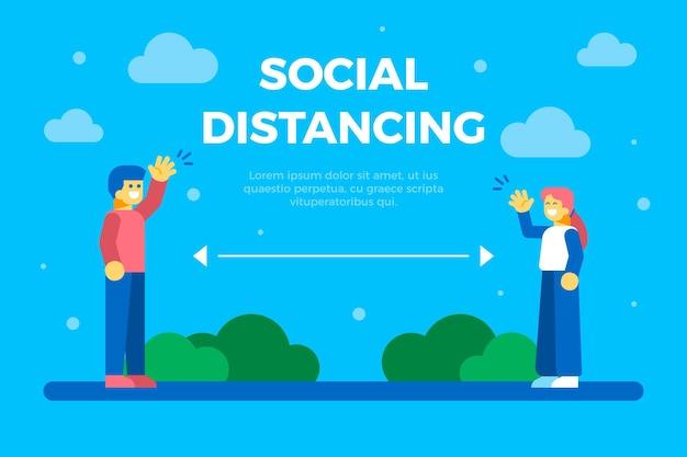 Ilustrowane tło dystansu społecznego