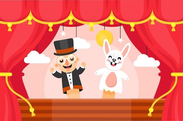 Ilustrowane tło pokazu lalek