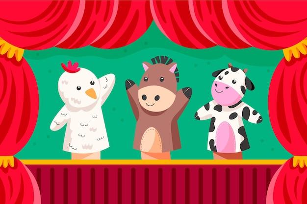 Ilustrowane tło pokazu organicznych lalek płaskich