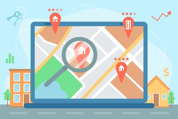 Ilustrowane wyszukiwanie nieruchomości na laptopie