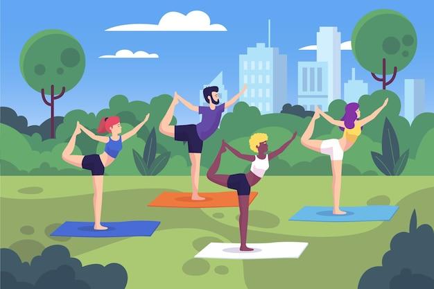 Ilustrowane zajęcia jogi na świeżym powietrzu