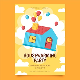Ilustrowane zaproszenie na parapetówkę z lataniem w domu