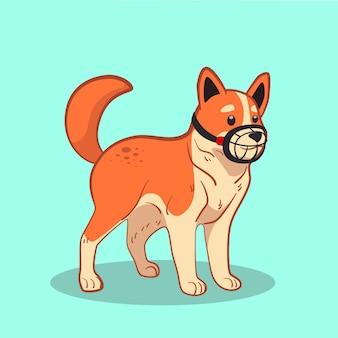 Ilustrowane Zwierzę W Kagańcu Kreskówka Darmowych Wektorów