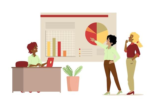 Ilustrowani ludzie analizujący wykresy wzrostu