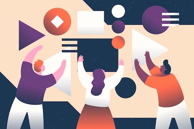 Ilustrowani ludzie pracujący zespołowo w projekcie