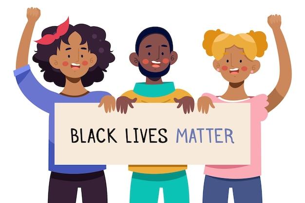 Ilustrowani ludzie protestujący przeciwko dyskryminacji czarnych