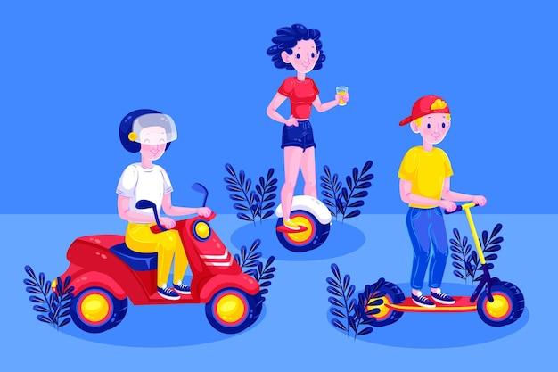 Ilustrowani ludzie prowadzący różne elektryczne pojazdy transportowe