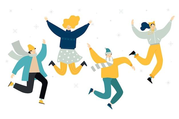 Ilustrowani ludzie skaczący zimą