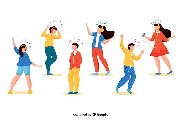 Ilustrowani ludzie słuchający muzyki na słuchawkach i tańczący