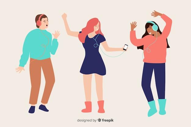 Ilustrowani ludzie słuchający muzyki na słuchawkach