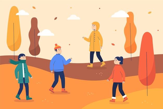 Ilustrowani ludzie spacerujący jesienią