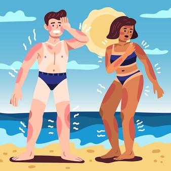 Ilustrowani ludzie z kreskówek z oparzeniami słonecznymi