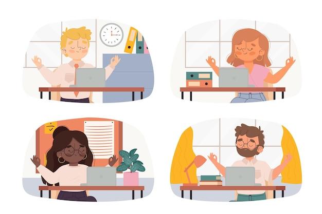 Ilustrowani medytujący ludzie biznesu
