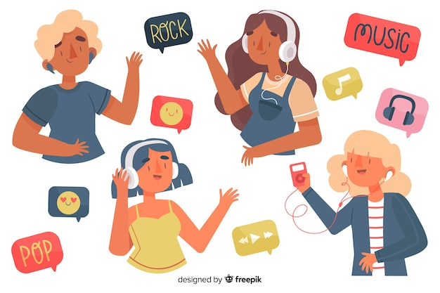 Ilustrowani młodzi ludzie cieszy się muzykę na słuchawkach