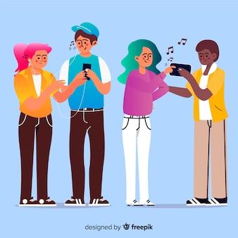 Ilustrowani młodzi ludzie słuchający muzyki