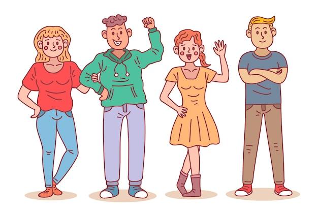 Ilustrowani młodzi ludzie