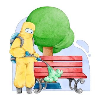 Ilustrowani pracownicy świadczący usługi sprzątania w miejscach publicznych