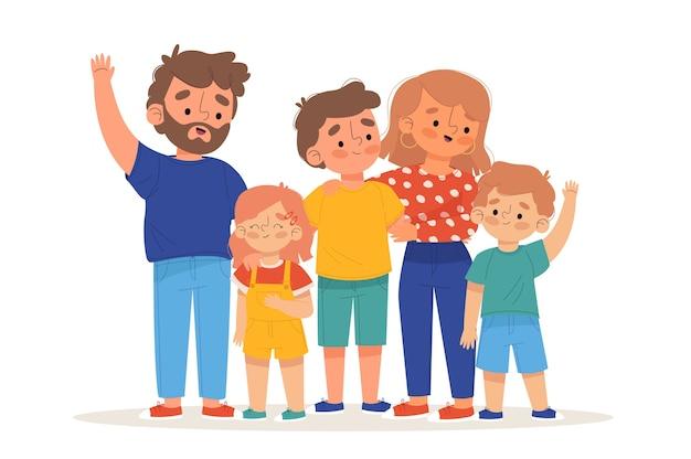 Ilustrowani rodzice trzymający swoje dzieci