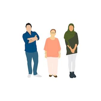 Ilustrowani różnorodni przypadkowi ludzie