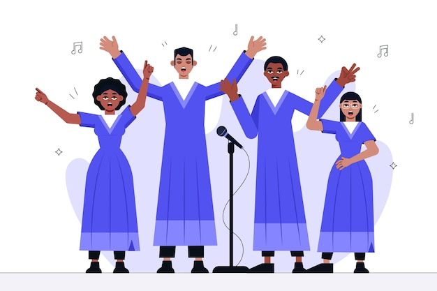 Ilustrowani szczęśliwi ludzie śpiewający w chórze gospel
