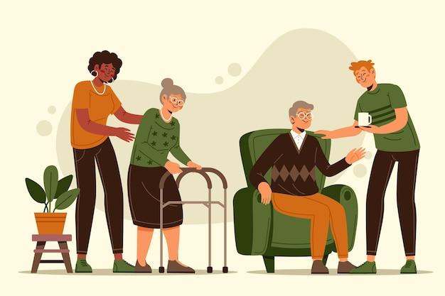 Ilustrowani wolontariusze pomagający osobom starszym