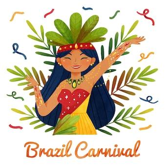 Ilustrowany akwarela brazylijski karnawał