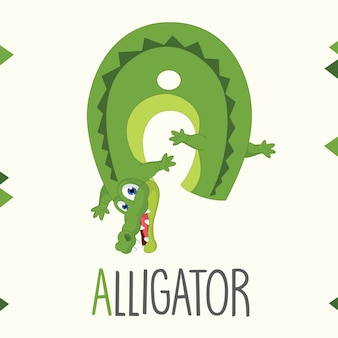 Ilustrowany alfabet litera a i aligatora