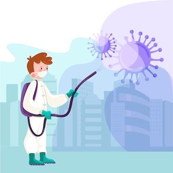 Ilustrowany człowiek niszczy wirusa