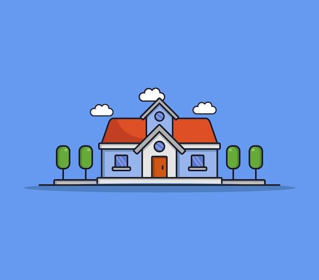 Ilustrowany dom z kreskówek