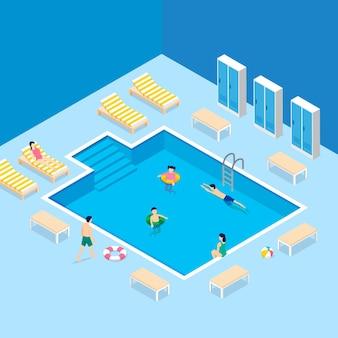 Ilustrowany izometryczny basen publiczny