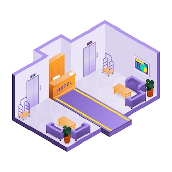 Ilustrowany izometryczny odbiór w hotelu