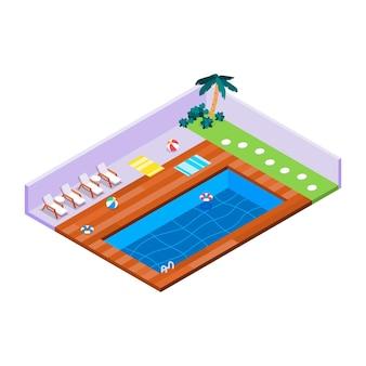 Ilustrowany izometryczny prywatny basen