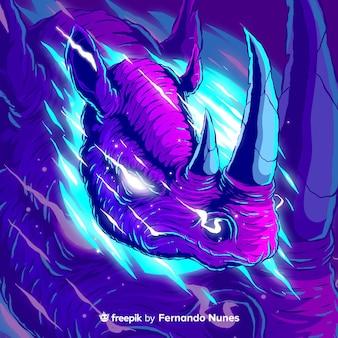 Ilustrowany kolorowy abstrakcyjny dziki nosorożec