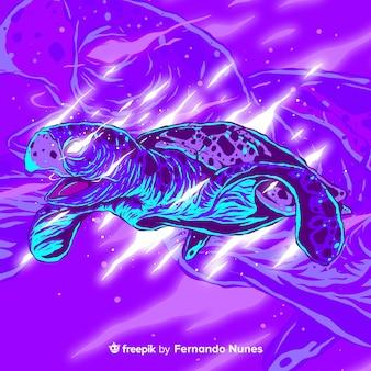 Ilustrowany kolorowy abstrakcyjny żółw