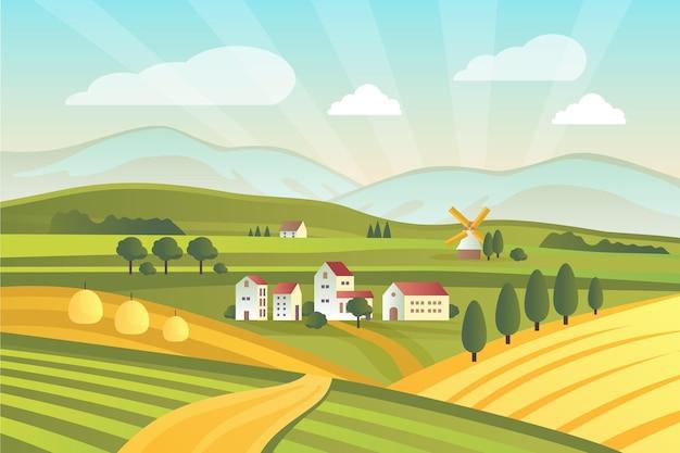 Ilustrowany kolorowy krajobraz wsi