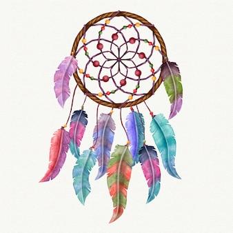 Ilustrowany kolorowy łapacz snów