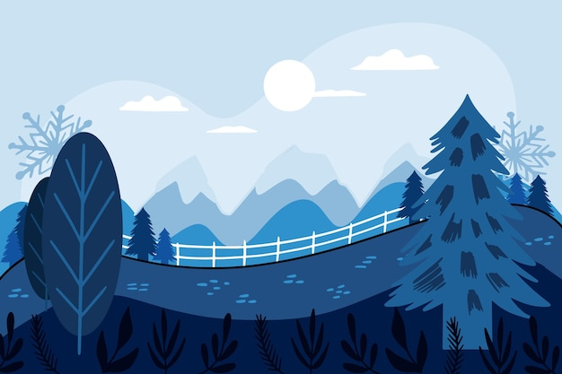 Ilustrowany krajobraz w okresie zimowym
