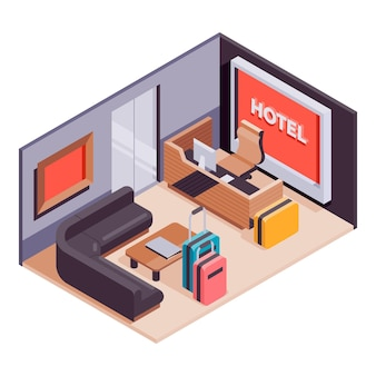 Ilustrowany kreatywny izometryczny odbiór w hotelu