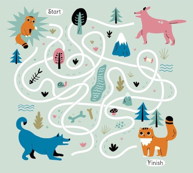 Ilustrowany kreatywny labirynt dla dzieci