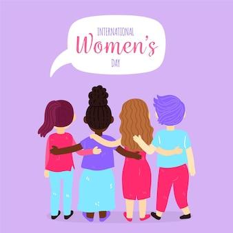 Ilustrowany kreatywny narysowany międzynarodowy dzień kobiet