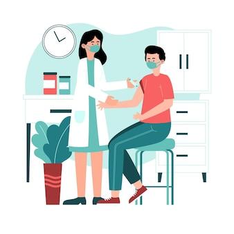 Ilustrowany lekarz wstrzykujący szczepionkę pacjentowi