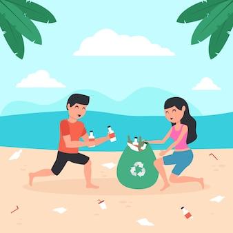 Ilustrowany mężczyzna i kobieta czyści plażę