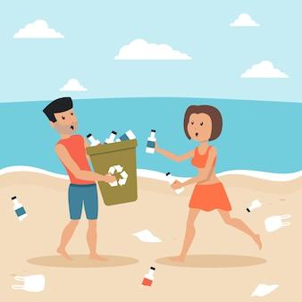 Ilustrowany mężczyzna i kobieta, sprzątanie plaży